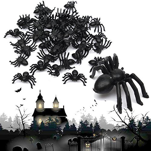 pcs Plastic Spider New Plastic Black Spider Trick Toy Party Halloween Haunted House Prop Decor by EZLIFE (Haunted Prop)
