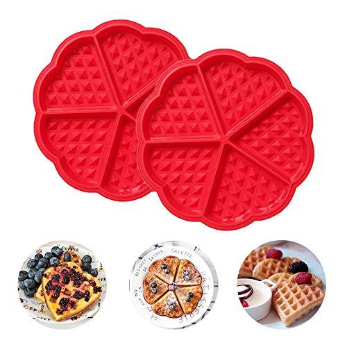 2 Stücke Herzform Silikon Waffel Backform 5 Hohlraum Pancake Muffinform DIY Hausgemachte Backen Dekoration Werkzeug, ()