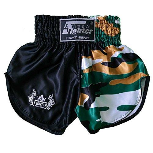 4Fighter Muay Thai Shorts schwarz camo braun-Weiss/hohen Schlitzen, Größe:XXL - Schwarze Und Weiße Camo