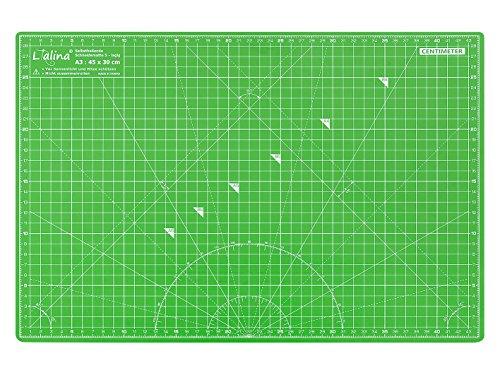 Lialina® / A3 Schneidematte 45 x 30 cm / klingenschonende 5-lagige Schneide-Matte / selbstheilende Oberfläche / beidseitiger Maßraster-Druck apfelgrün / pink