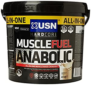 USN Muscle Fuel Anabolic Lean Muscle Gain Shake Powder, Vanilla - 4 kg