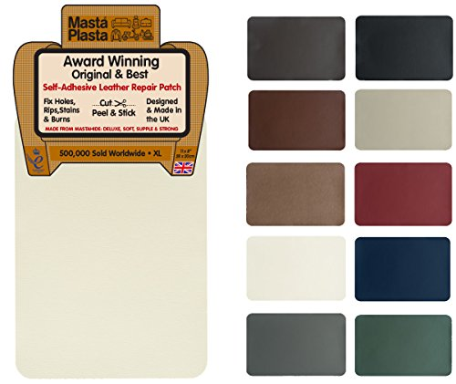 Mastaplasta self-adhesive leather repair patch. new xl 28cmx20cm. choose colour. first-aid for sofas, car seats. fix holes, rips, burns, stains (ivory xl, white)