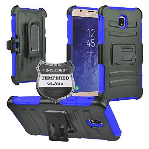 A/v-ständer Glas (Für Samsung Galaxy J7(2018), J7Verfeinern, J7Star, j7V 2nd Gen sm-j737-Hybrid Armor Hülle w/Ständer/Gürtelclip gehärtetem Glas Displayschutzfolie, CV2 Blue/Black)