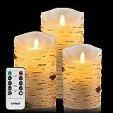 LED Kerzen mit beweglicher Flamme Echt Flammen Effekt LED Echtwachskerzen Birkenstämme mit 10 Key Fernbedienung und Timer [Klassische Stumpenkerze, Elfenbeinfarbe] - 3er Pack (10,2 cm 12,7 cm 15,2 cm) (Birkenrinde)
