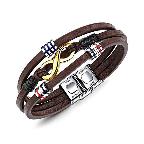 Daxey - Infinity Armband Edelstahl Brown-Farben-Leder-Armband für Männer Schmuck Braid Kette Perlen Zubehör 21cm