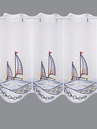 Scheibengardine Segelboot im Sonnenuntergang Maritimer Scheibenhänger Badgardine in 3 Höhen 55 x 64 cm -