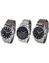Dice Formal Round Shaped Analog Multicolour Dial Wrist Watches for Men with Stainless Steel Case and Chain- Pack of 3