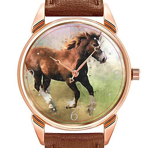 rzuhr Business wasserdicht leuchtende Uhr Herren braun Leder Uhr Candy Corn Armbanduhren ()