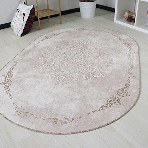 Teppich Kelim Kilim Modern Designer für Bad und Küche in Beige Rokoko Muster Vintage waschbar und rutschfest, hochwertige Webung Oval und Rund (Oval 120cm x 180cm)
