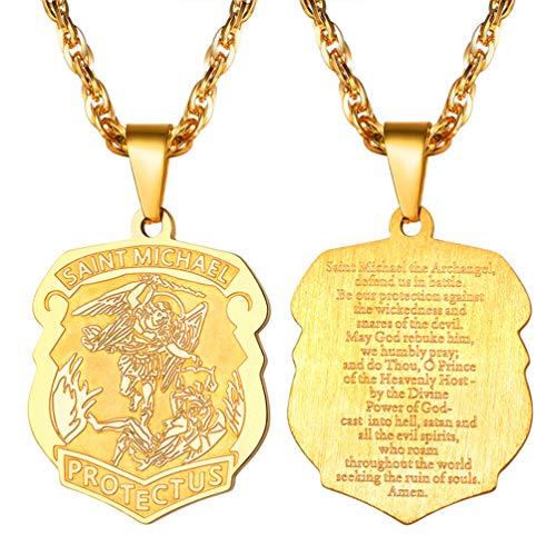 PROSTEEL Herren Halskette 18k vergoldet Heilige St. Michael Erzengel Anhänger mit 55 + 5cm Singapurkette Männer Jungen Modeschmuck mit Geschenkbox(Gold) (St Gold Michael-halskette)