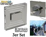 3 x IP44 Design LED Treppenbeleuchtung Wandstrahler 230V 3000K warmweiss Trango TGSL-013