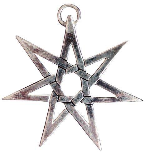 Heptagramm für Schutz aus Versteckt Danger - Sterling Silber Anhänger mit schwarzer Schnur Halskette aus Sigils of the Craft Kollektion - Verpacktes Geschenk