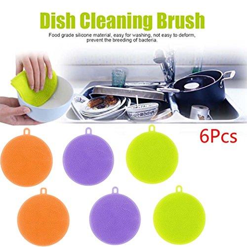wuayi Silikon Gericht Waschen Schwamm Scrubber Multifunktionale Küche Reinigung antibakteriell Werkzeug 6 Sets