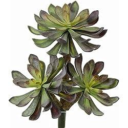 artplants Künstliches Aeonium Adnan auf Steckstab, grün-violett, 25 cm - Künstliche Sukkulenten/Deko Pflanze