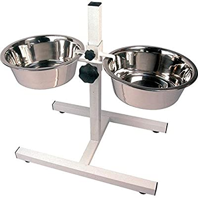 Raised Twin Dog High Feeder High Stand inc Bowls Adjustable for Larger Dogs by Rose-wood