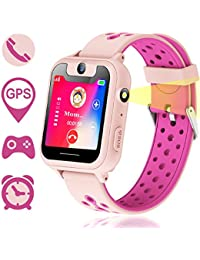 Reloj Inteligente para Niños, GPS/LBS para Niños Cumpleaños Presente Cámara SIM Llamadas Toque HD Pantalla Anti-pérdida SOS Despertador Smartwatch Pulsera para iOS Android Smartphone(Rosa)