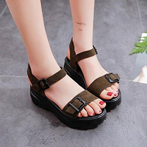 Mit schwerer Boden Wort Schnalle Sandalen , Kaiki Frauen rutschfeste Sandalen Neue Sommerflache mit Gürtelschnalle Sandalen Green