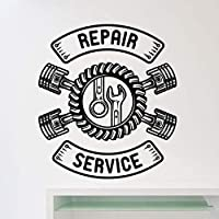 haochenli188 Car Repair Service Wall Sticker Auto Car Repair Store Decoration Car Tire Service Removable Car Workshop Logo Wall Decal 57 * 64cm