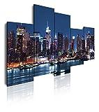 DekoArte 33 - Modernes Bild New York mit Skyline von Manhattan, 5-teilige Leinwand, 150 x 100 cm, blauer Hintergrund