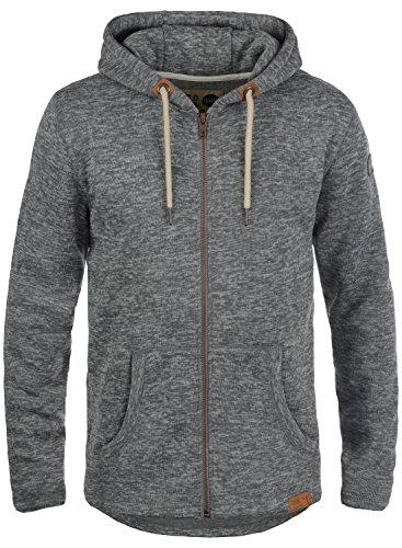 !Solid Leki Herren Fleecejacke Sweatjacke Jacke Mit Kapuze und Melierung, Größe:S, Farbe:Grey Melange (8236) Solid Windjacke