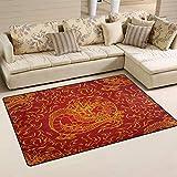 XiangHeFu Teppiche für Wohnzimmer, Esszimmer, Schlafzimmer, dekorative asiatische Feuerdrache (76 x 30 cm), Rutschfeste Bodenmatte, Gesponnenes Polyester, Image 778, 31x20 Inches