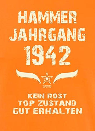 Modisches 75. Jahre Fun T-Shirt zum Männer-Geburtstag Hammer Jahrgang 1942 Ideale Geschenkidee zum Jubeltag Farbe: orange Orange