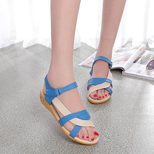 XY&GKFrauen 2 Sommer's Flat Frauen Sandalen rutschfeste Schuhe für schwangere Frauen 39 blue