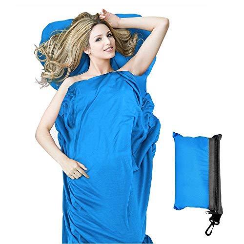 StillCool Sacco Lenzuolo Sacco a Pelo 210 * 80cm in Fibre Morbido Sacco a Pelo Viaggio Campeggio Sacco Letto (Blu)
