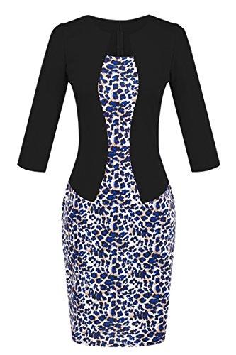 YMING Frauen Weinlese Bodycon einteiliges Kleid 3/4 Hülsen Geschäfts Partei Kleid XS XXL SCHWARZ4
