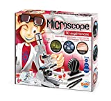 One 23-cm microscope with lenses, colour filters and 3 magnifications: x200 / x600 / x1200. The base and body of the microscope are metal. LED light for high-quality observations. A large number of accessories included: slides, tweezers, 4 vials, Pet...