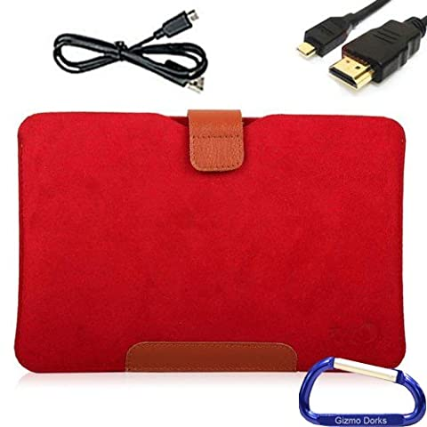 Soft Sleeve Case, HDMI USB Cable Bundle for the Acer Iconia Tab A110 Tablet with Gizmo Dorks Carabiner Key Chain - Red with Leather Trim
