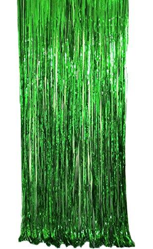 JIANZHENKEJI Folie Vorhänge Fringe Vorhänge Lametta Hintergrund Metallic Vorhänge für Geburtstag Hochzeit Foto Booth Dekorationen(2 Packung) (Grün)