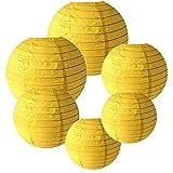 IMMEK Silberpapier Runde Laternen für Geburtstag Hochzeit Dekorationen Handwerk (1-Pack von 6)(Gelb)