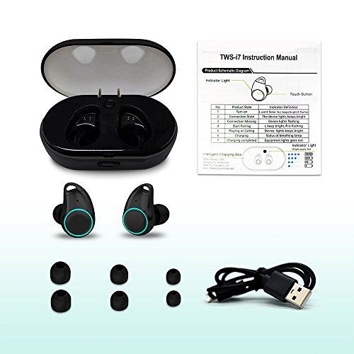 Holyhigh Bluetooth Kopfhörer Bluetooth Headset V5.0 Stereo-Minikopfhörer Sport IPX6 Wasserdicht Kopfhörer in Ear mit Ladekästchen und Integriertem Mikrofon für iPhone Android Samsung iPad Huawei HTC - 7