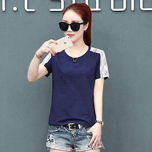 MoMo Tee-Shirt à Manches Courtes Creux en Dentelle d'été Tee-Shirt à Manches Courtes en Coton Sauvage pour Femme,Bleu Marin,L