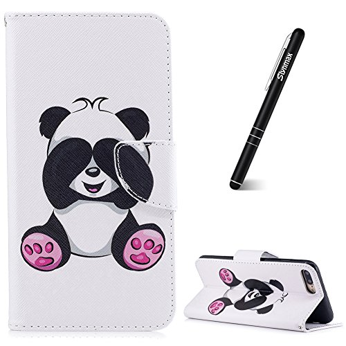 iPhone 7 Plus Custodia Flip,iPhone 8 Plus Custodia in Pelle,Slynmax Farfalla di Pesca Stampato Copertura Folio Cover PU Wallet Case Per iPhone 7 Plus / iPhone 8 Plus Protezione Caso Ultra Sottile Colo Cover #6