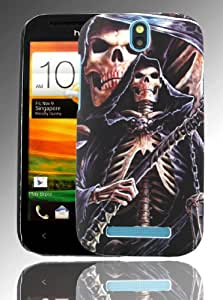pointH HTC One SV Printed Hard Shell Stylish Back Protection Case Cover Clip On Protection - Skelton Skull Hood Design
