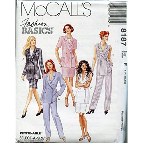 McCall's Pattern 8187 ~ Fashion Basics Misses' Lined Jacket, Skirt & Pants ~ Select-A-Size 14-16-18 by McCall's