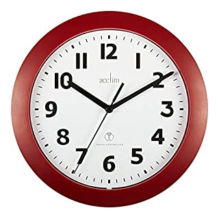 Acctim 74314 Parona, Red Radio Controlled Wall Clock, 23cm Diameter