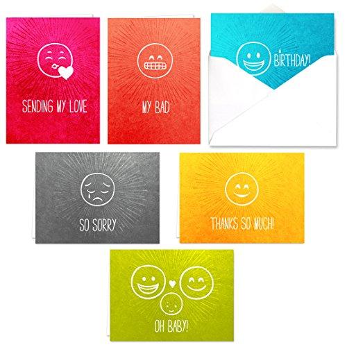 Emoticon Note Karte Sortiment PACK-Set von 36Karten-6Designs Innen blanko, mit weißen Umschlägen