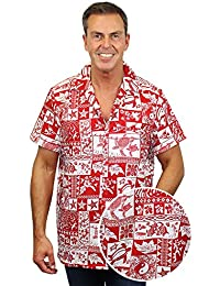 King Kameha   Funky Chemise Hawaïenne   Hommes   XS - 12XL   Manche-Courte   Poche-Avant   Hawaiian-Imprimer   Puzzle   Rouge