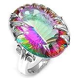 diadia gelegt werden ️ Frau Sieben Farbe Mystic Rainbow Topaz Juwel Ring Fashion Ehe Ring 8# mehrfarbig
