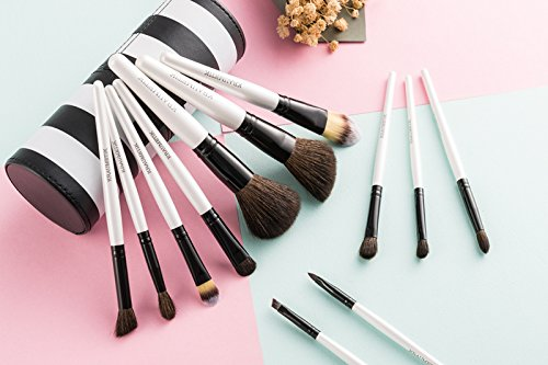 Kraumetik Foundation Makeup Brushes with Holder 12 Pieces Blending Eyeshadow Blush Powder Brush Kit