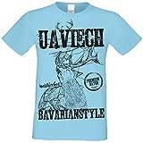 Kurzarm Trachten T-Shirt Herren : Hirsch Uaviech : Premium Bayer: Volksfest Oktoberfest Freizeitshirt Männer bis 5XL Farbe: Hellblau Gr: 4XL