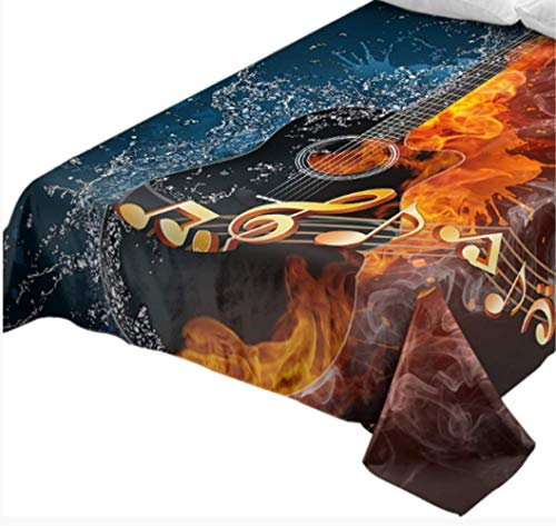 ASADVE Feuer Und Wasser Gitarre Bettwäsche 1 Stück 3D Gedruckte Flache Noten Jugend Bettwäsche Lebendige Tagesdecken - E-gitarre Feuer
