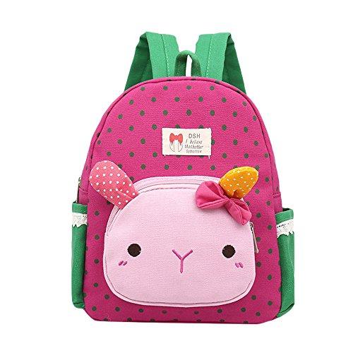 Hniunew Paket Mädchen Schulrucksack für die Grundschule Nette Rabbit Bunny Tier Stickerei Buch Taschen Rucksack Kleine Schultasche Babyrucksack Kindergartentasche Backpack für Kinder