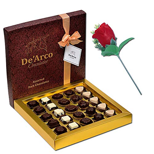 De'Arco Chocolatier Valentines Day Chocolate Gift, Premium Luxury Chocolates, 25pcs + Free Rose