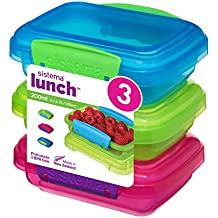 Sistema Lunch Food Storage Containers with contrasting Clips, Green/Pink/Blue, 200 ml, Pack of 3
