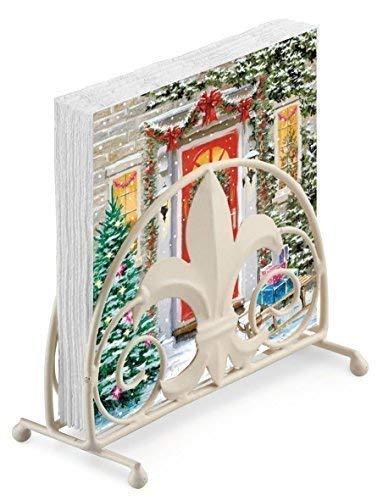 Guirlande Porte Arbre Cadeaux Noël en Relief 20 X 3 Plis Serviettes en Papier & Fleur de Lys Porte Serviette Set