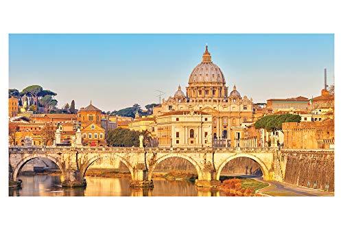 LimeWorks Badetuch, 70x140 cm, Motiv Petersdom und Tiber in Rom - Italien, Baumwolle/Mikrofaser, Made in EU -